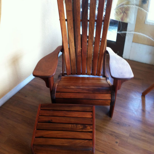 Hawaiian Koa Wood Chair And Ottoman