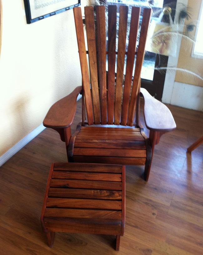Hawaiian Koa Wood Chair And Ottoman